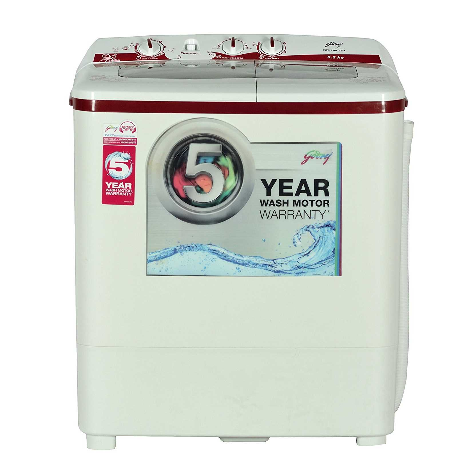 Godrej GWS 6204 PPD 6.2 Kg Semi Automatic Top Loading Washing Machine