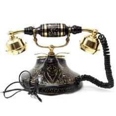 Artondoor Table Maharaja Brass Telephone Round Carved Corded Landline Phone