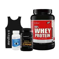 Medisys Active Fitness Combo Chocolate 1 Kg Whey Protein + Gym Active Joint Care (Free Sando and Calcium Plus)