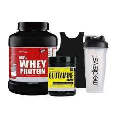 Medisys Body Fuel Combo Whey Protein Chocolate 2 Kg + Micronized Glutamine (Free Sando and Shaker)