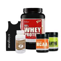 Medisys Bodybuilding Combo Whey Protein Vanilla 1 Kg+Creatine & BCAA (Free-Sando & Multivitamin)