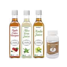 Medisys Daily Health Essentials Aloe Vera + Apple Cider Vinegar + Amla Juice + Multivitamin