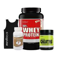 Medisys Muscle Gain Combo Cafe Mocha Whey Protein 1 Kg + Micronized Creatine (Free Sando and Multivitamin)