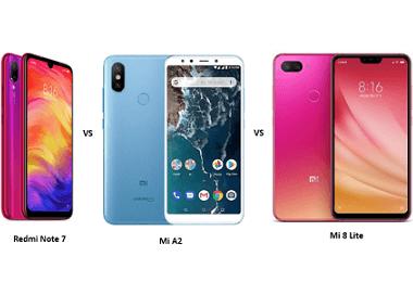 Xiaomi Redmi Note 7 vs Mi A2 vs Mi 8 Lite: Price, Features and Specifications Compared